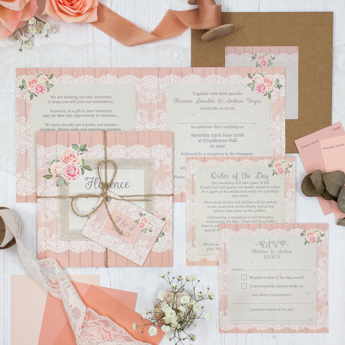 Coral Haze Wedding showing invitation