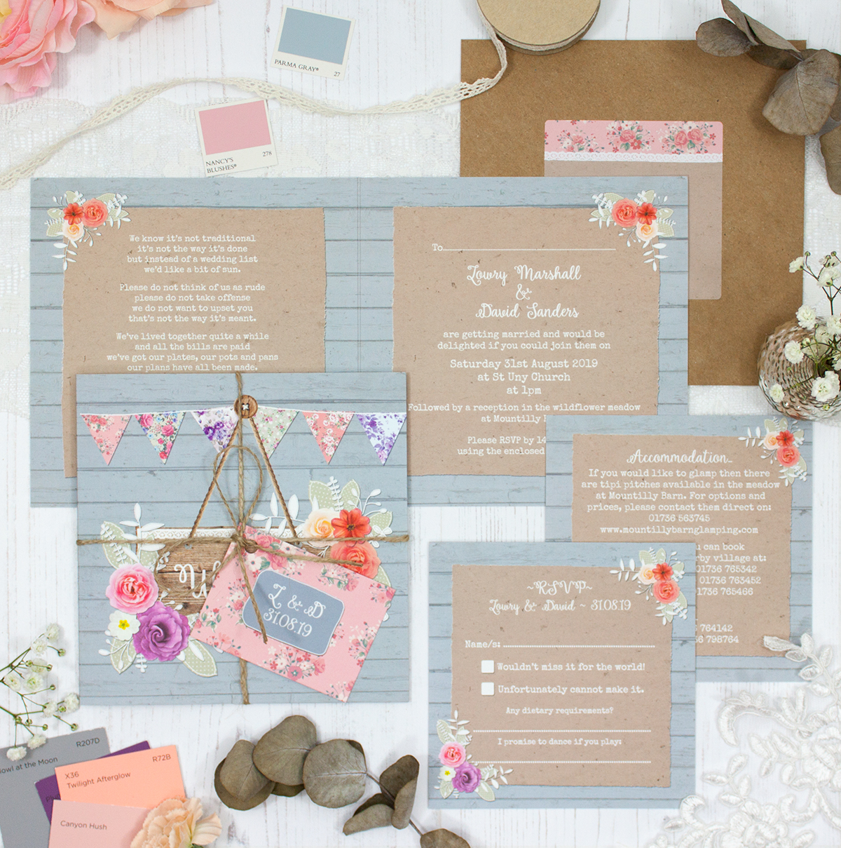 Cornflower Meadow Wedding showing invitation