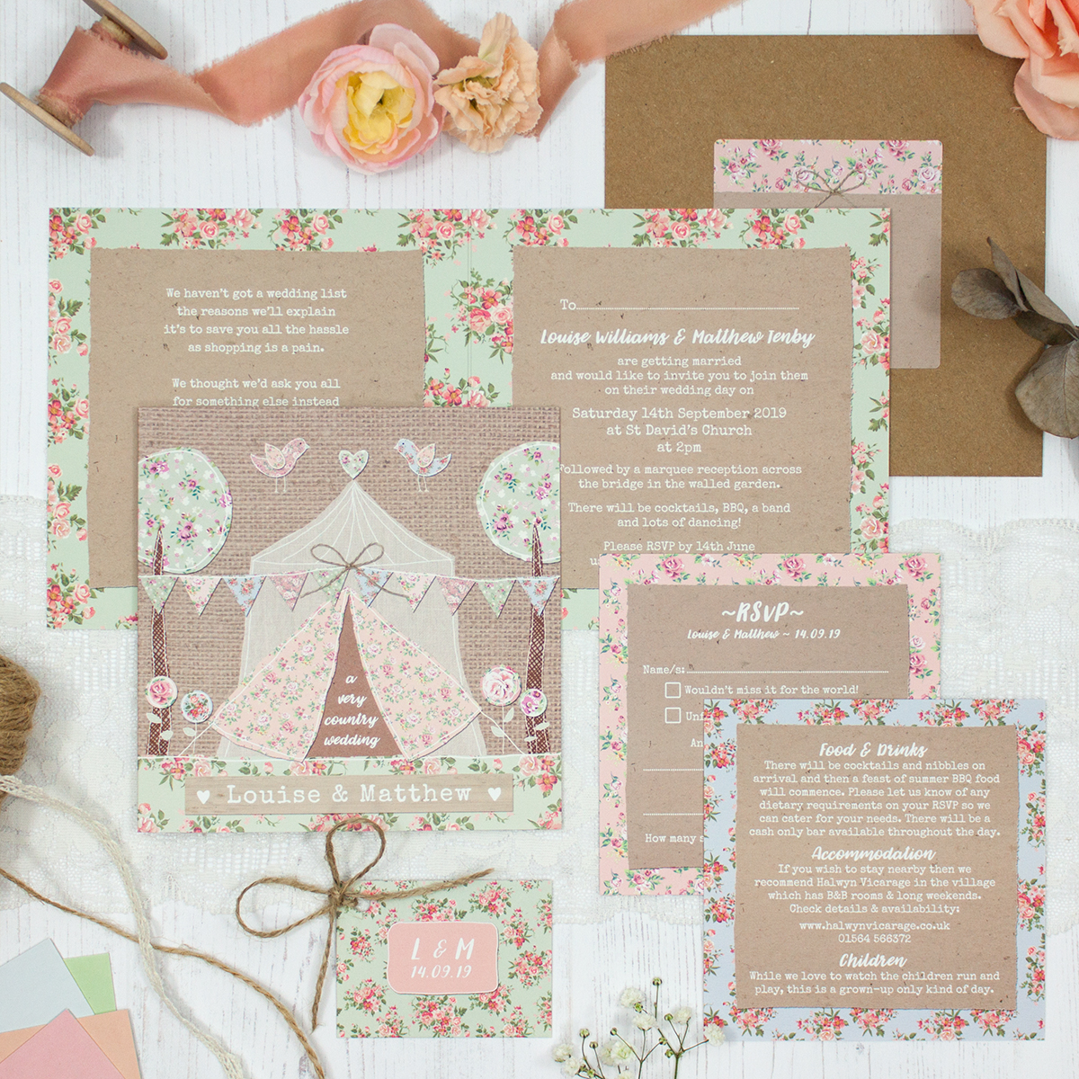 Country Wedding showing invitation