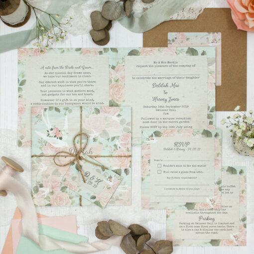 Dancing Swallows Wedding showing invitation