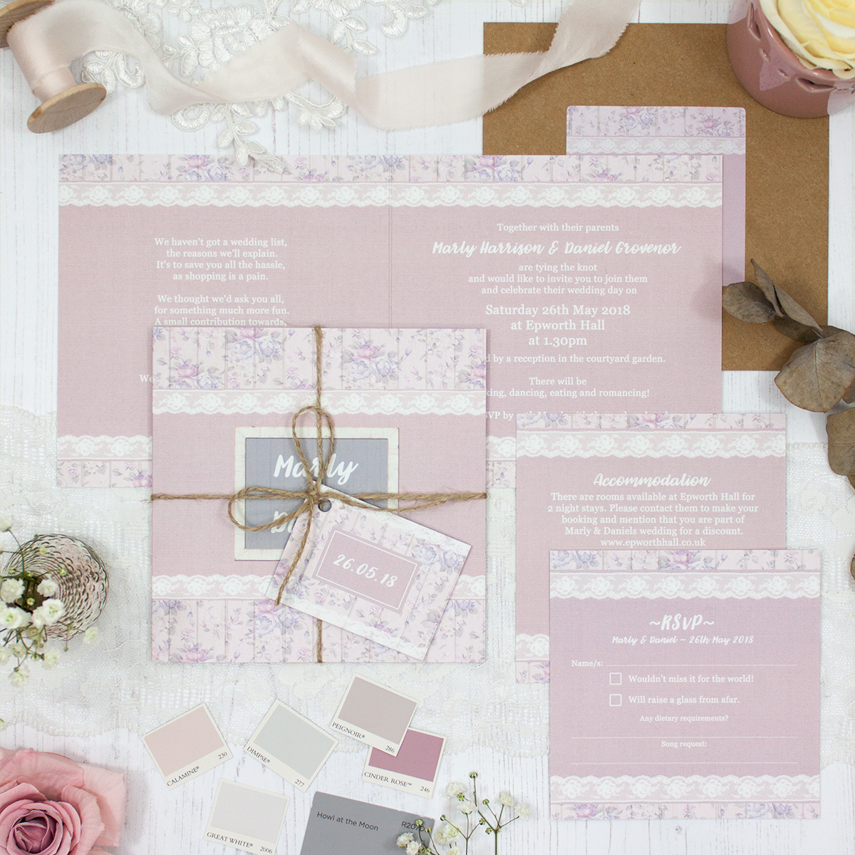 Dusky Dream Wedding showing invitation