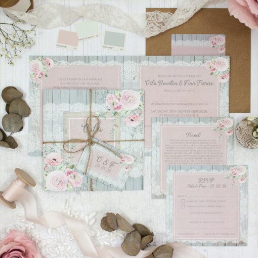 Dusty Flourish Wedding showing invitation