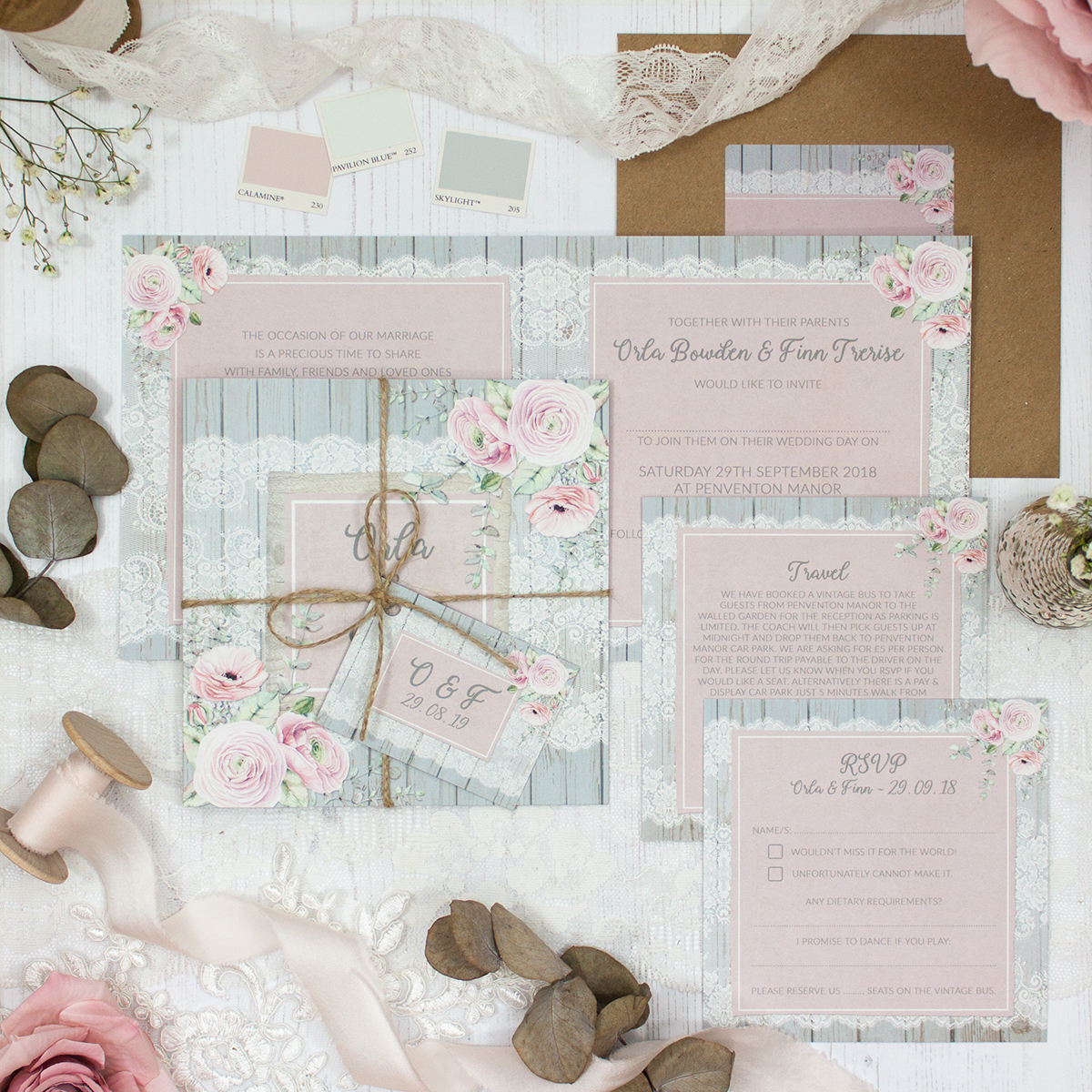 Dusty Flourish Wedding showing invitation