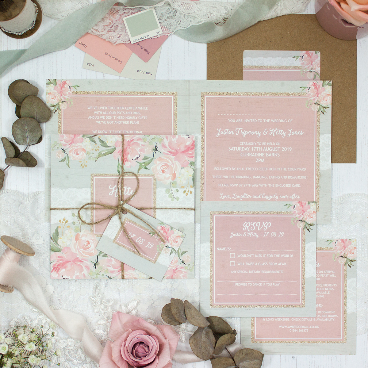 Enchanted Garden Wedding showing invitation