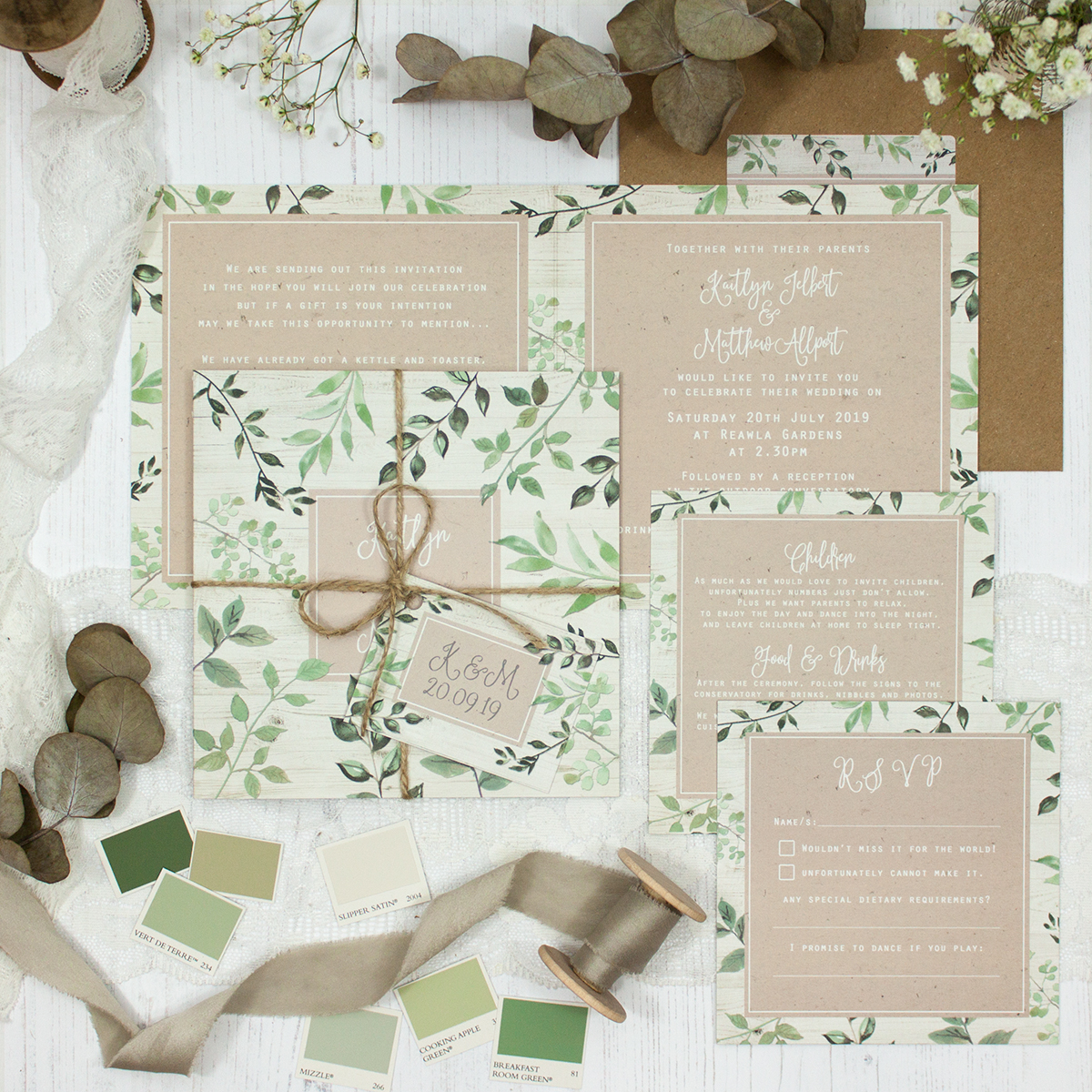 Evergreen Forest Wedding showing invitation
