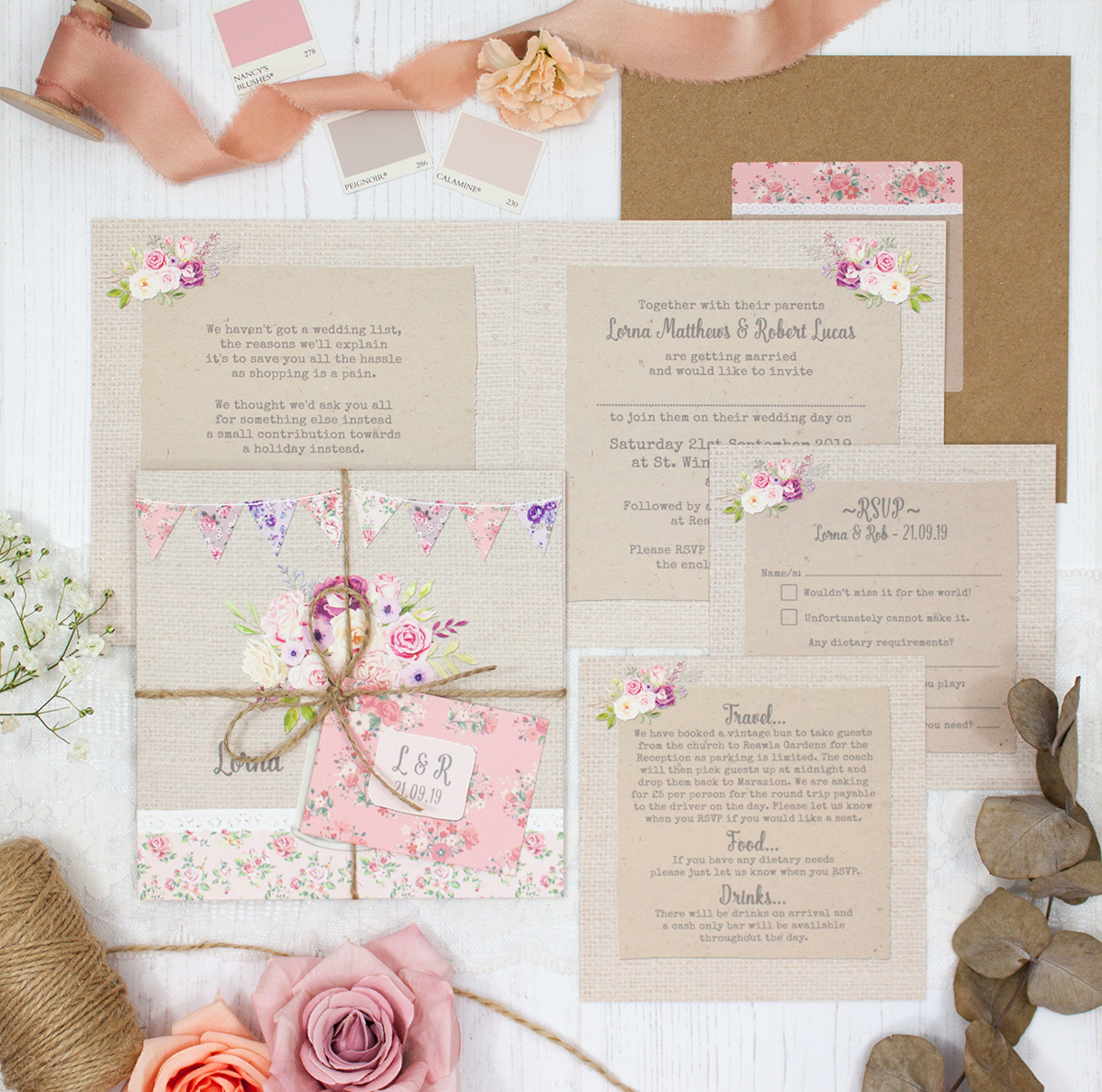 Floral Blooms Wedding showing invitation