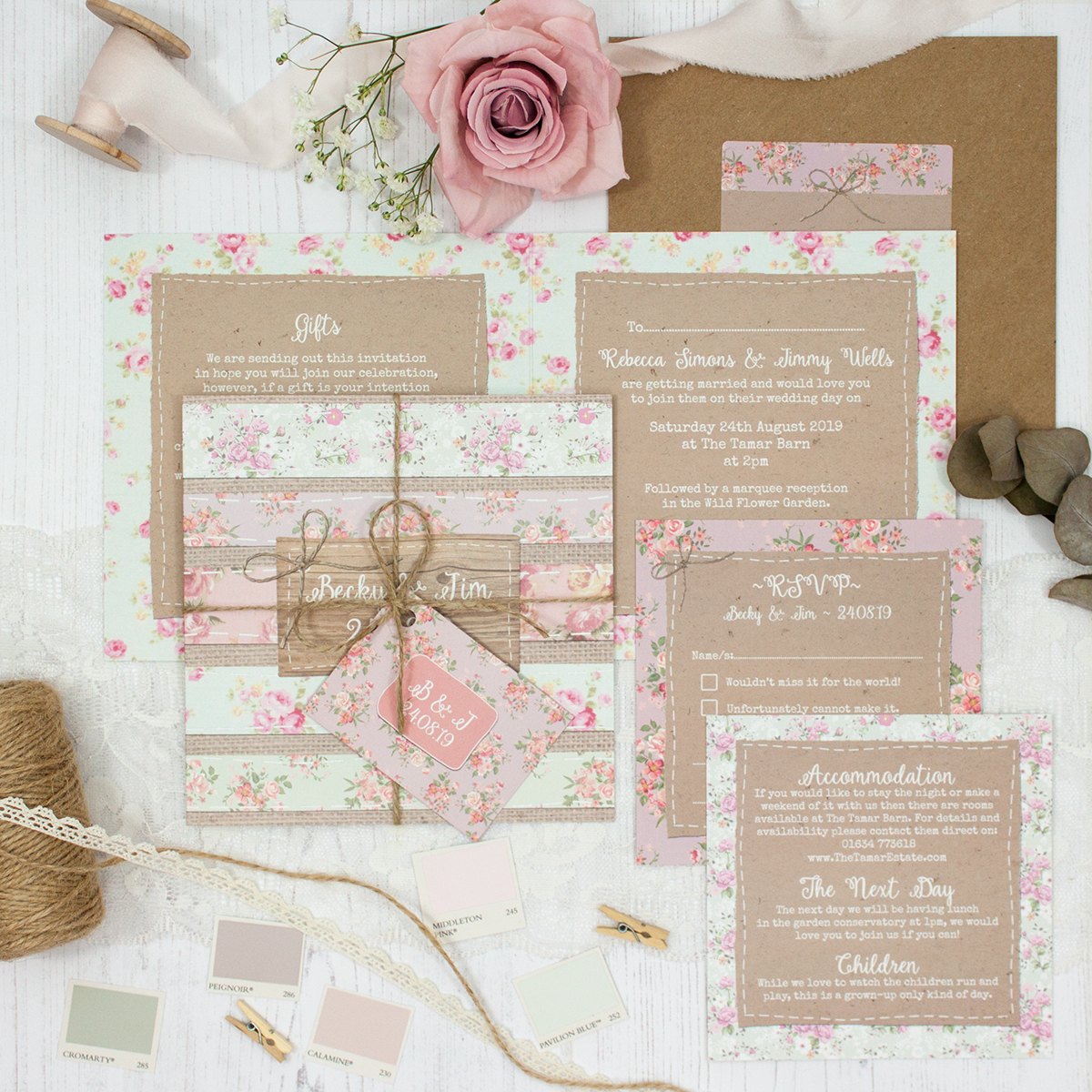 Floral Furrows Wedding showing invitation