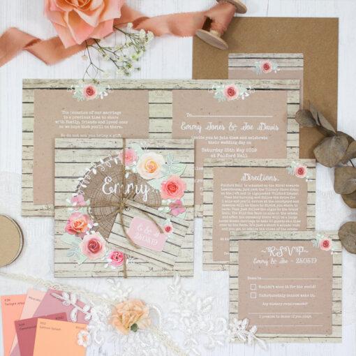 Flower Crown Wedding showing invitation