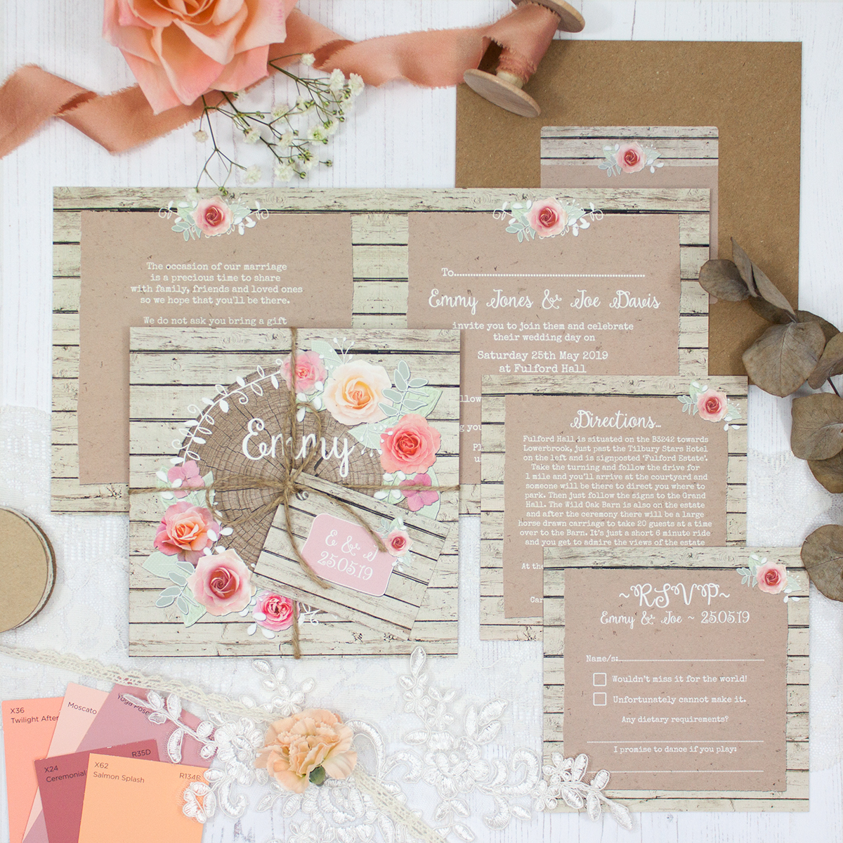 Flower Crown Wedding showing invitation