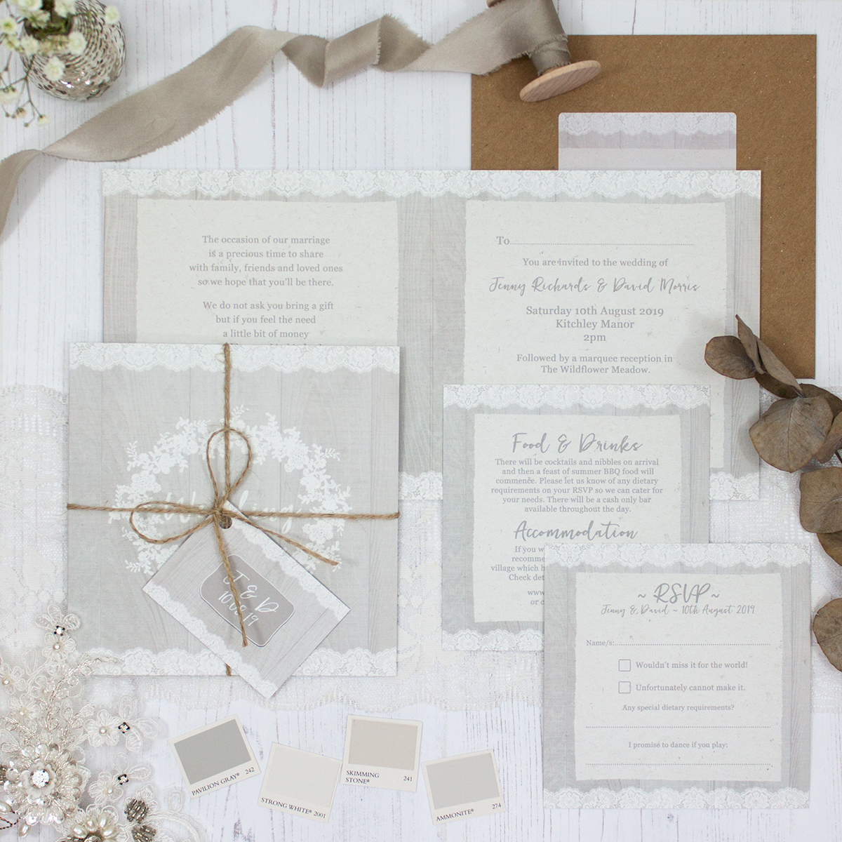 Grey Whisper Wedding showing invitation