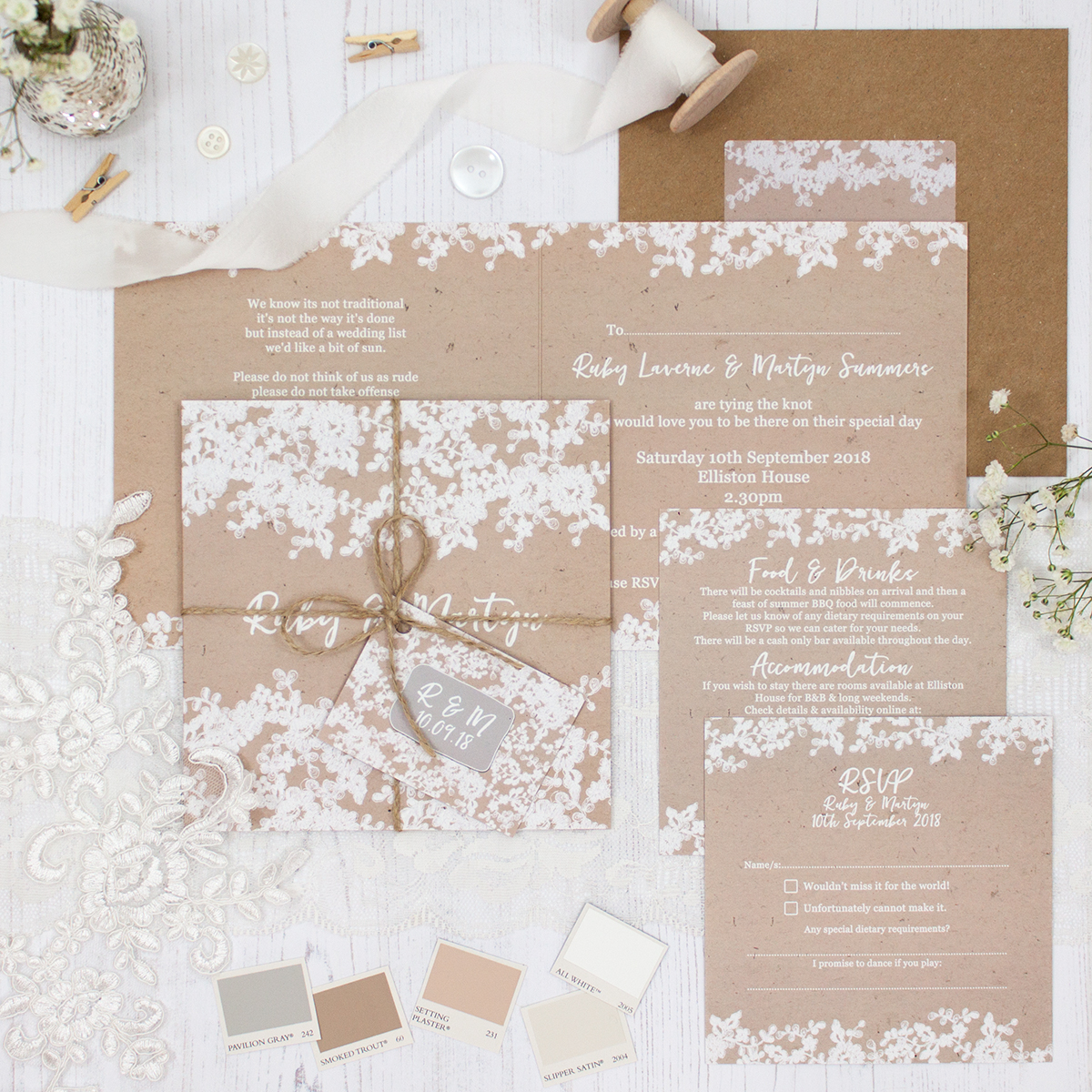 Lace Filigree Wedding showing invitation