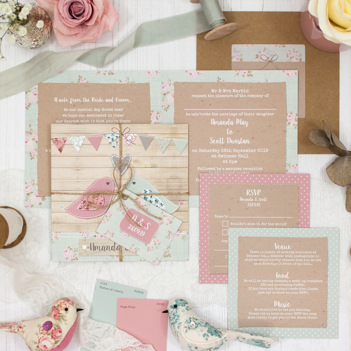 Lovebirds Wedding showing invitation