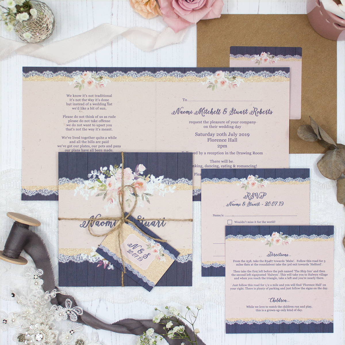 Midnight Glimmer Wedding showing invitation