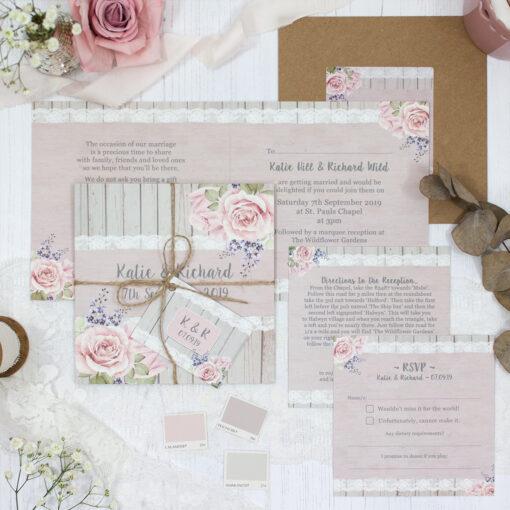 Mink Rose Wedding showing invitation
