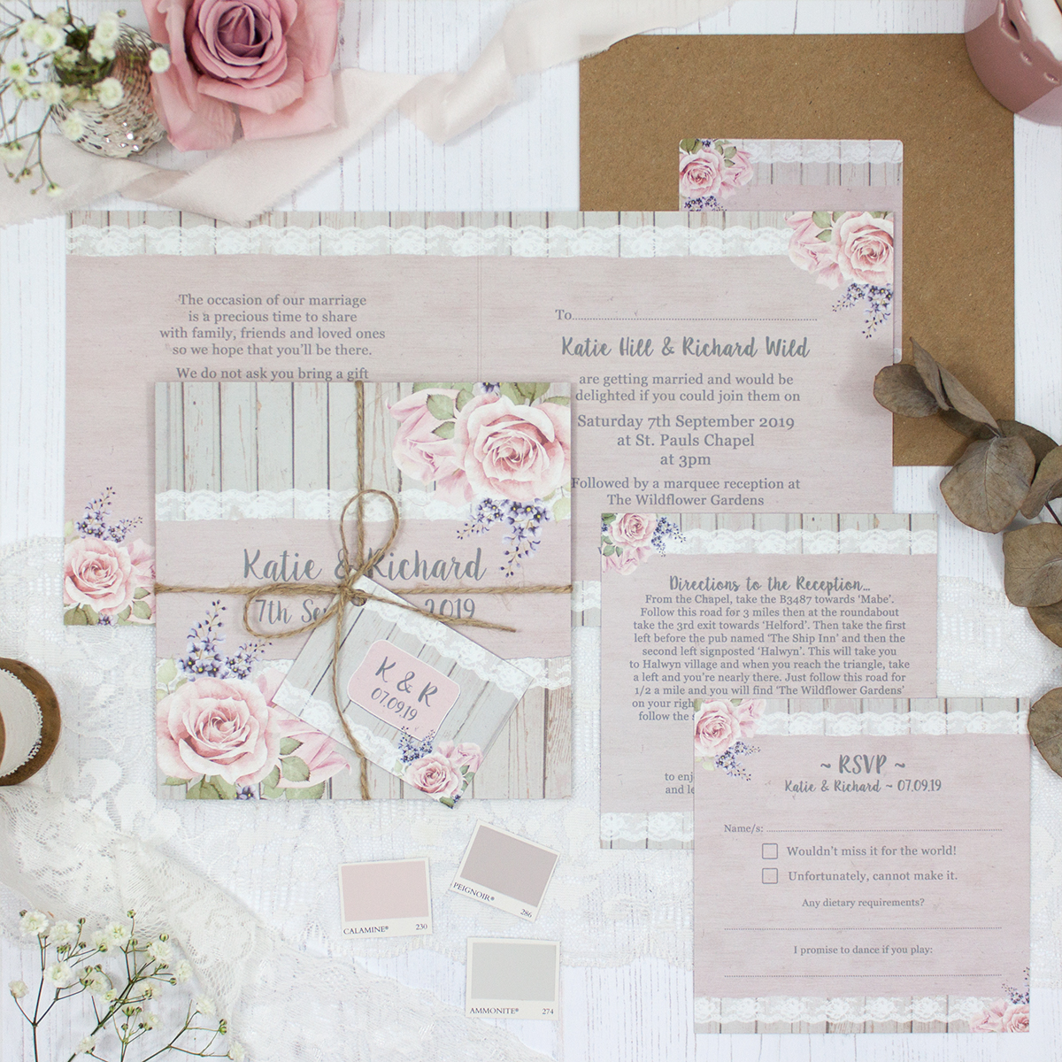 Mink Rose Wedding showing invitation