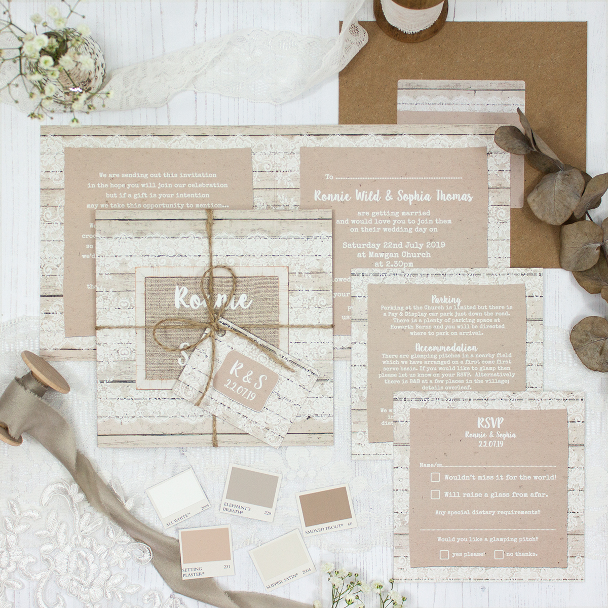 Natural Elegance Wedding showing invitation