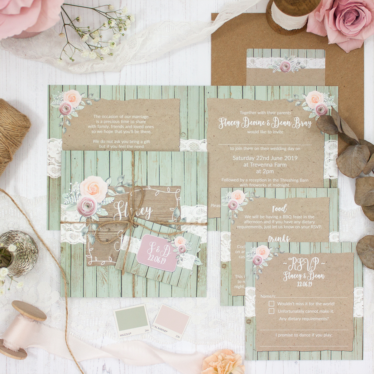 Ophelia Sage Wedding showing invitation