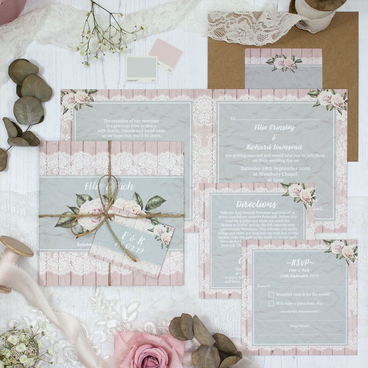 Powder Rose Wedding showing invitation