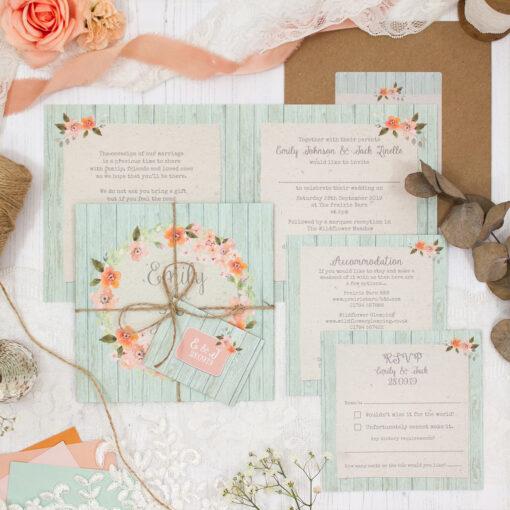 Prairie Peach Wedding showing invitation