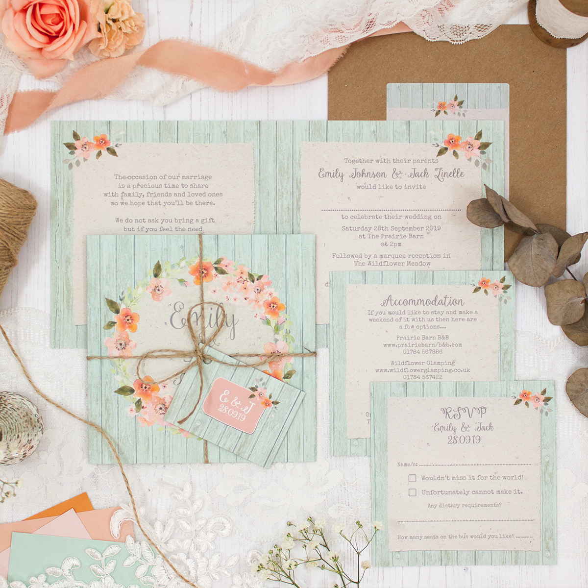 Prairie Peach Wedding showing invitation