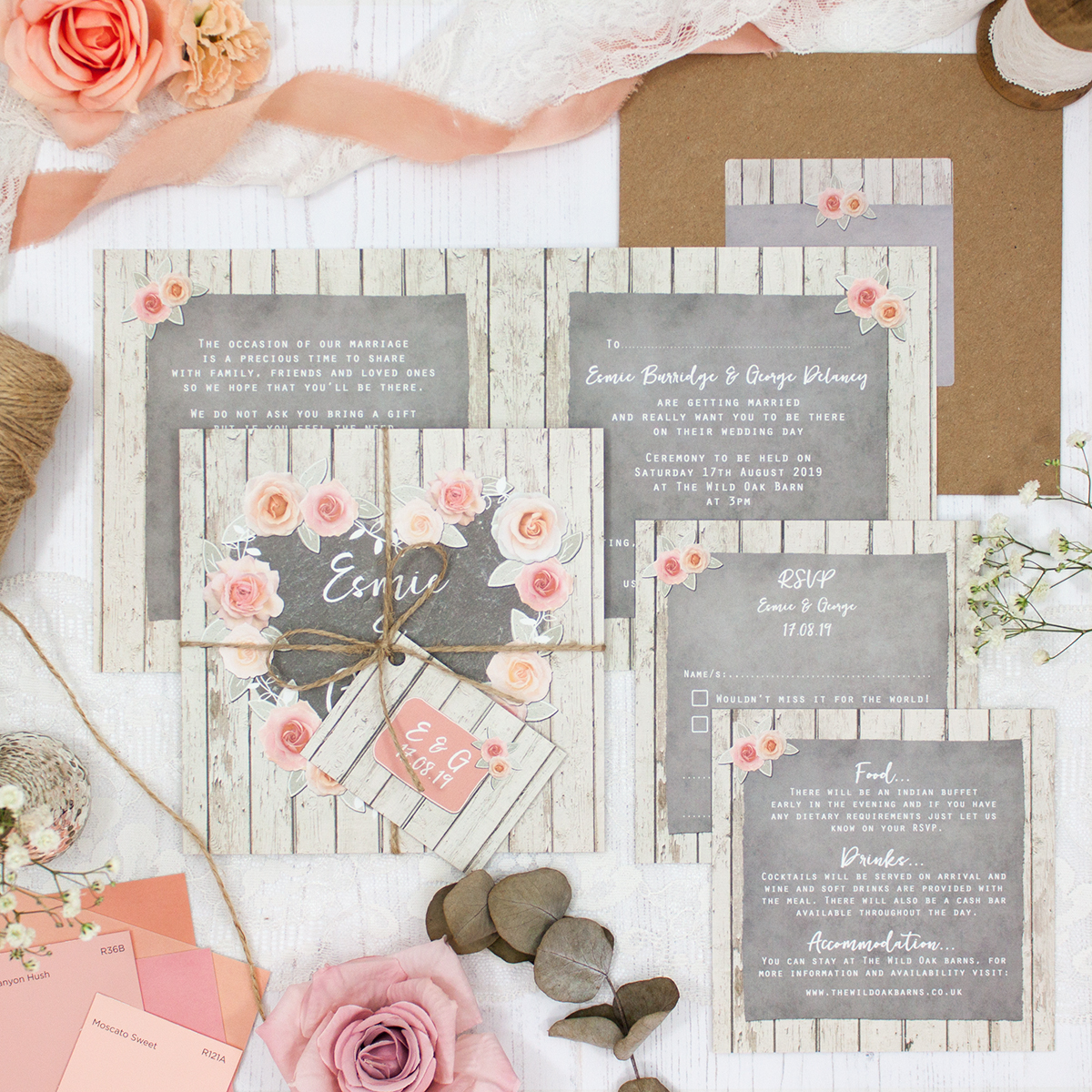 Rose Cottage Wedding showing invitation