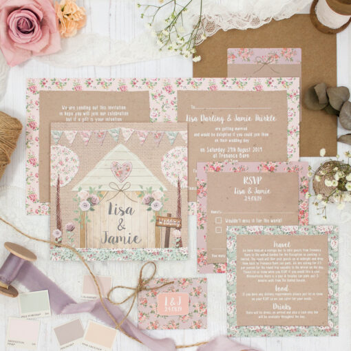 Rustic Barn Wedding showing invitation