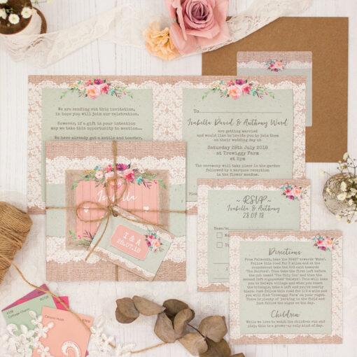 Rustic Farmhouse Wedding showing invitation