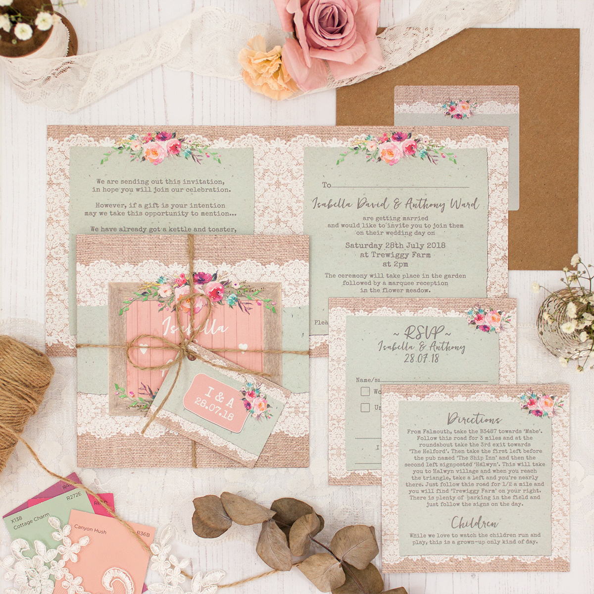 Rustic Farmhouse Wedding showing invitation