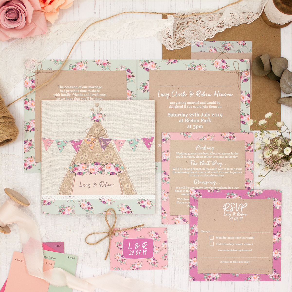 Tipi Love Wedding showing invitation