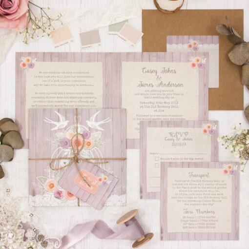 Vintage Birdcage Wedding showing invitation