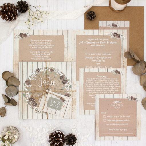 Wild Woodland Wedding showing invitation