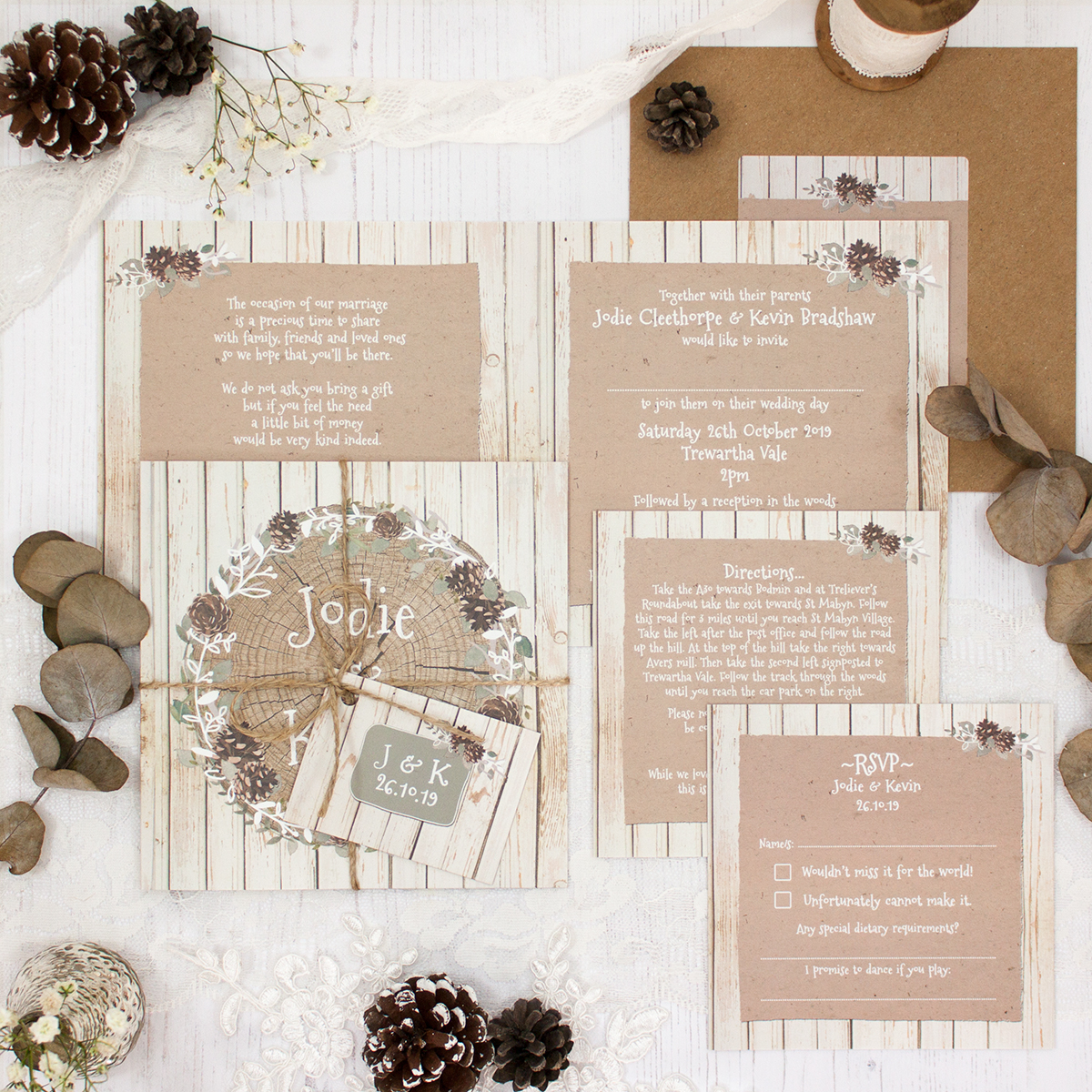 Wild Woodland Wedding showing invitation