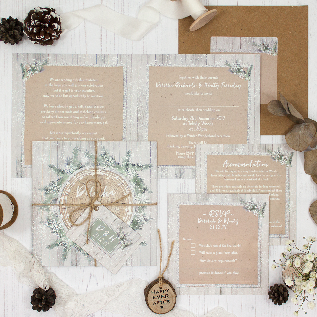 Winter Wonderland Wedding Showing Invitation