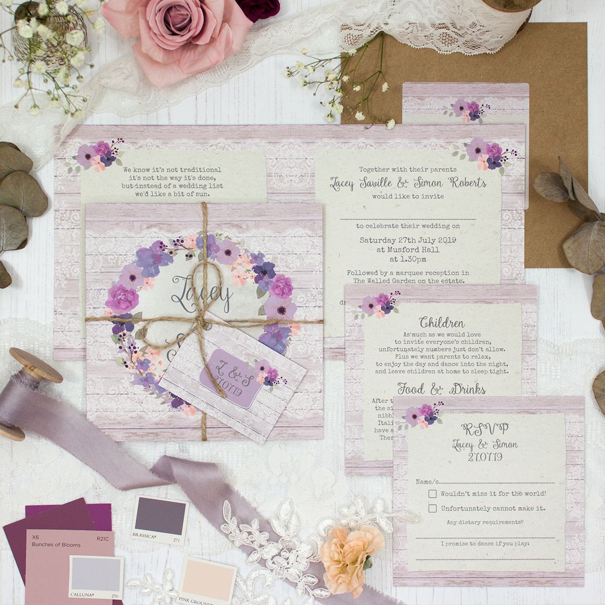 Wisteria Garden Wedding showing invitation
