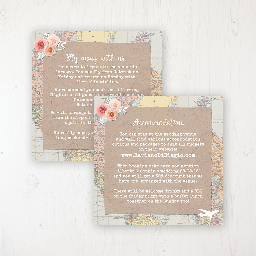 Adventure Wedding Info Insert Card Personalised Front & Back