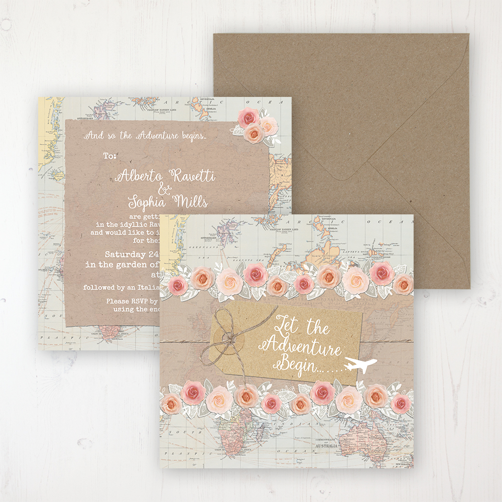 Adventure Wedding Invitation - Flat Personalised Front & Back with Rustic Envelope
