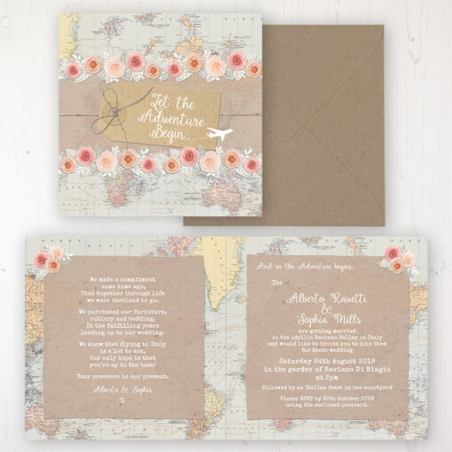 Adventure Wedding Invitation - Folded Personalised Front & Back with Rustic Envelope