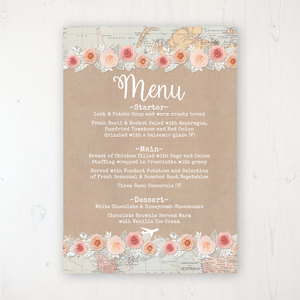 Adventure Wedding Menu Card Personalised to display on tables
