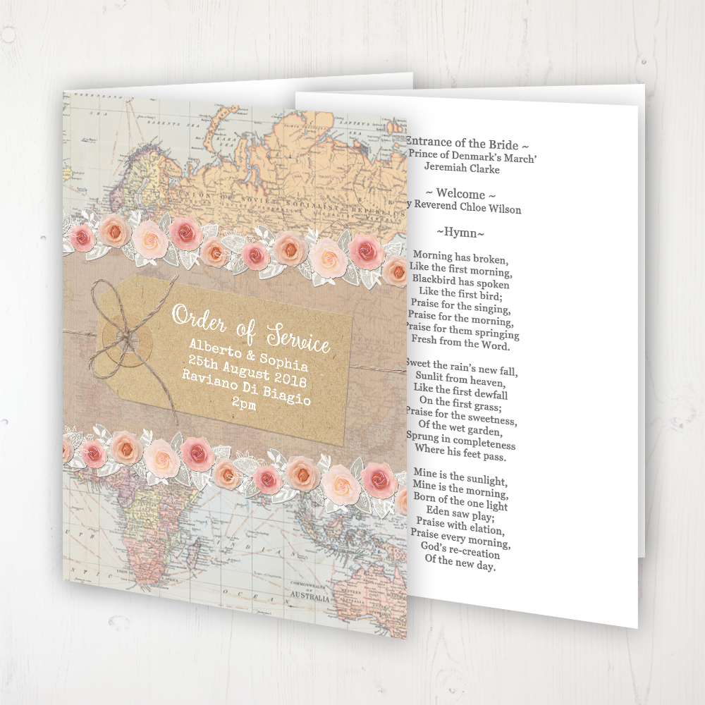 Adventure Wedding Order of Service - Booklet Personalised Front & Inside Pages