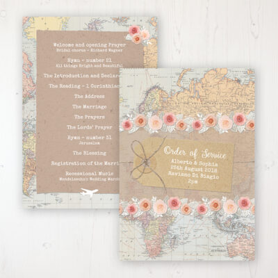 Adventure Wedding Order of Service - Card Personalised front and back