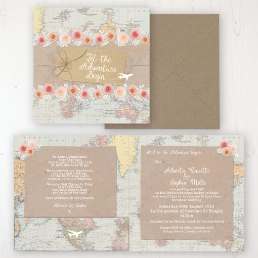 Adventure Wedding Invitation - Folded Personalised Front & Back with Pocket in inside cover. Includes Rustic Envelope