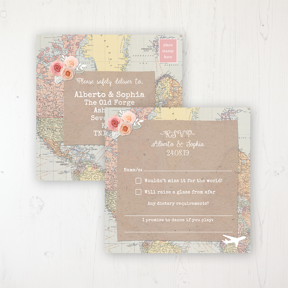 Adventure Wedding RSVP Postcard Personalised Front & Back