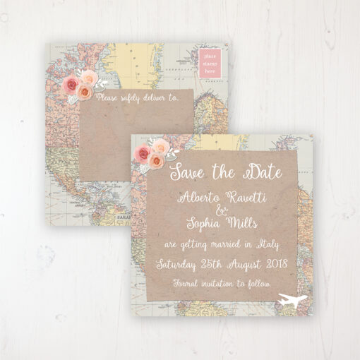 Adventure Wedding Save the Date Postcard Personalised Front & Back
