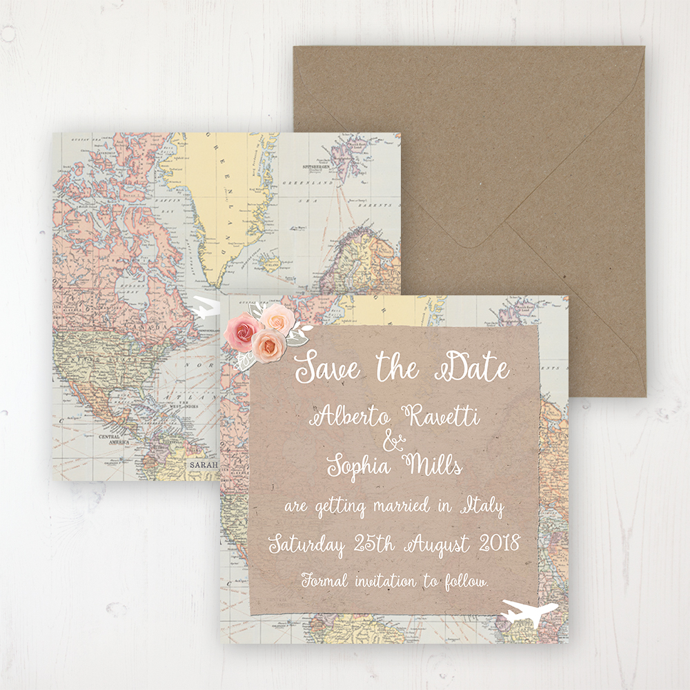 Adventure Wedding Save the Date Personalised Front & Back with Rustic Envelope