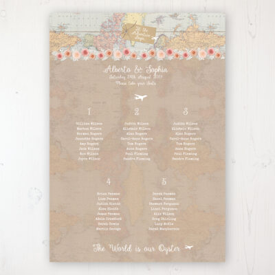 Adventure Wedding Table Plan Poster Personalised with Table and Guest Names