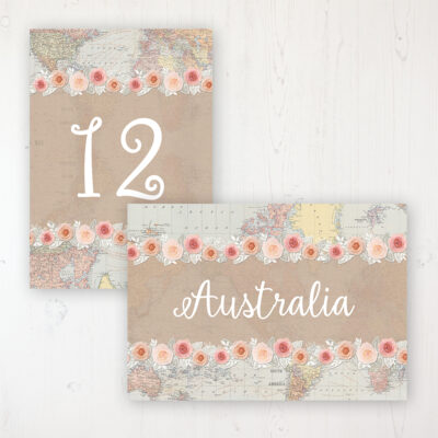 Adventure Wedding Table Name & Number Personalised Table Name Card and Number Card