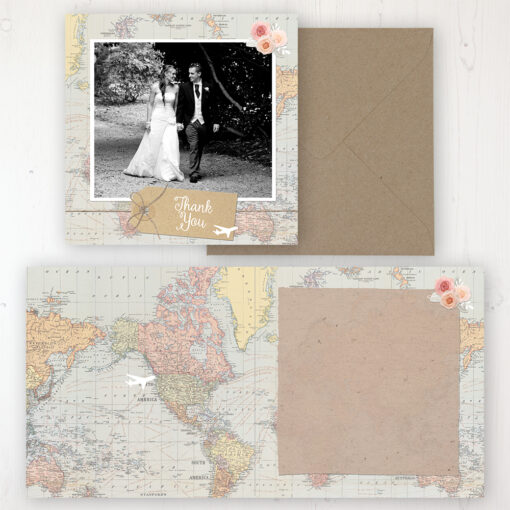 Adventure Wedding Thank You Card - Folded Personalised with a Message & Photo