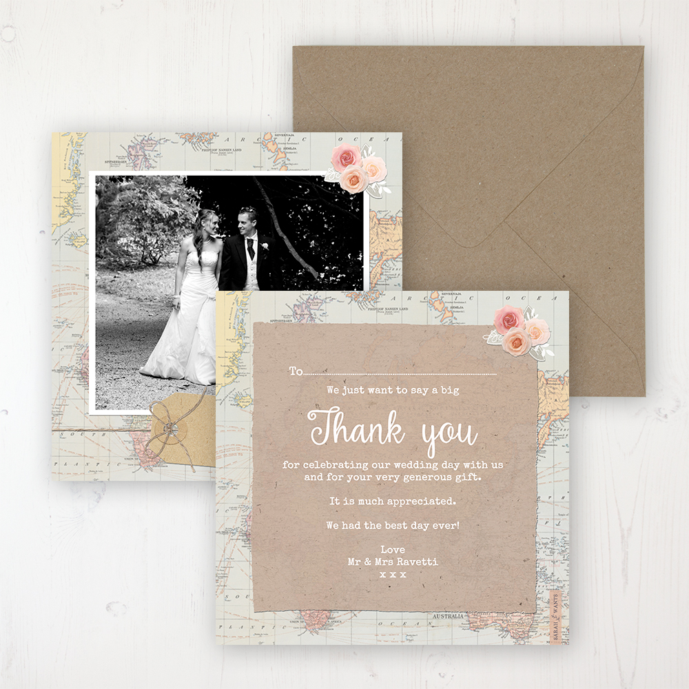 Adventure Wedding Thank You Card - Flat Personalised with a Message & Photo