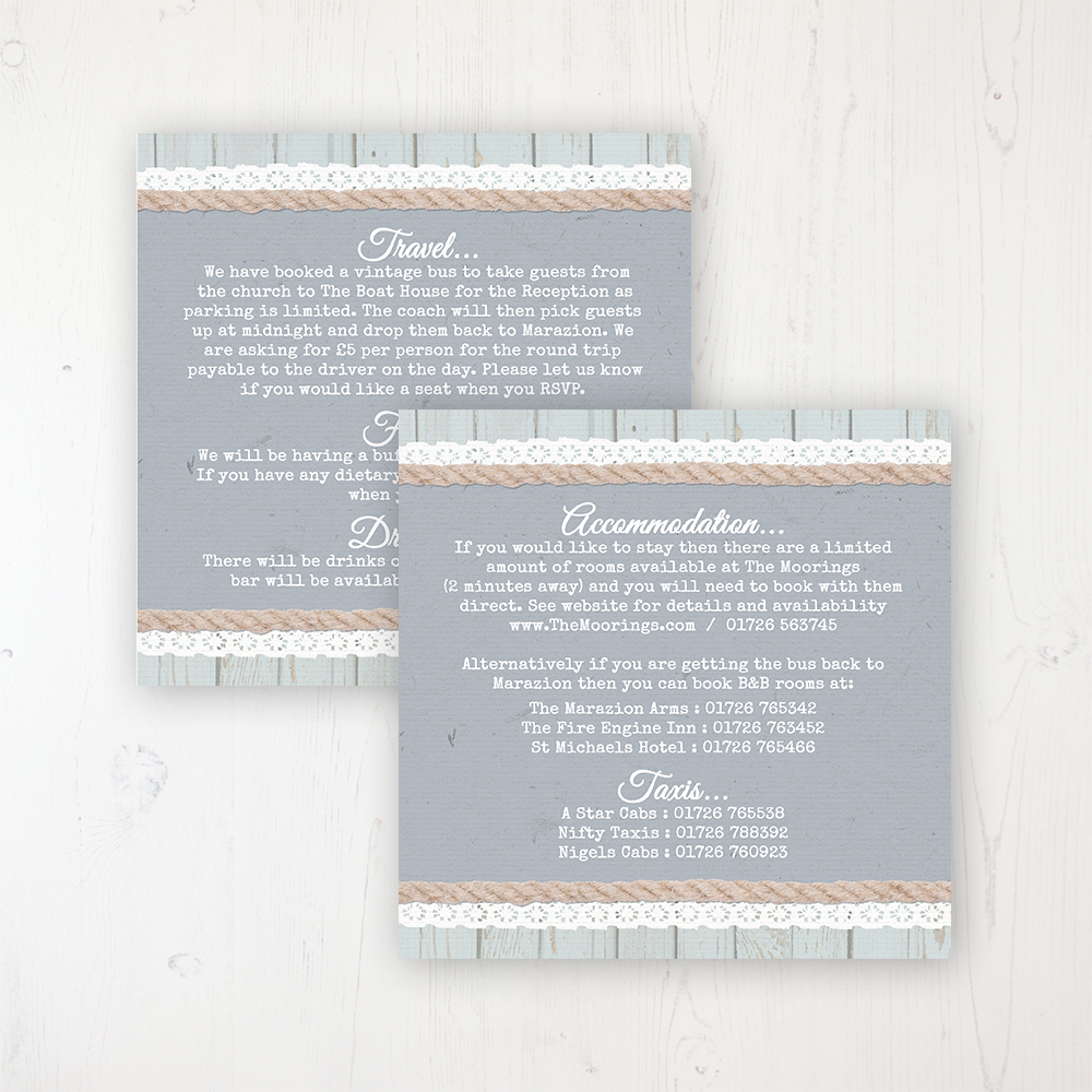 Anchored in Love Wedding Info Insert Card Personalised Front & Back