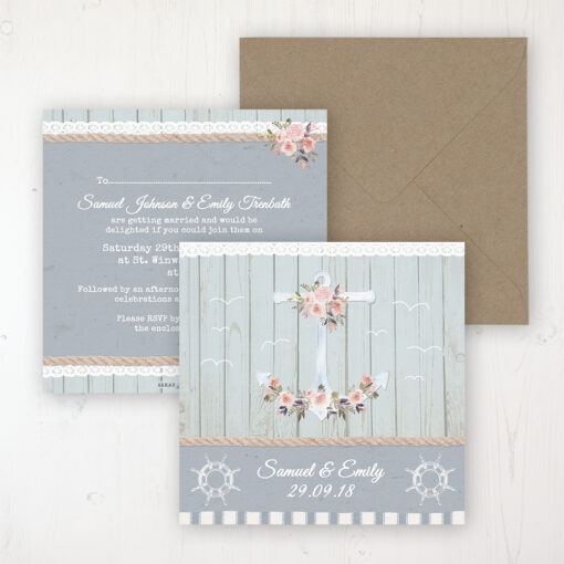 Anchored in Love Wedding Invitation - Flat Personalised Front & Back with Rustic Envelope